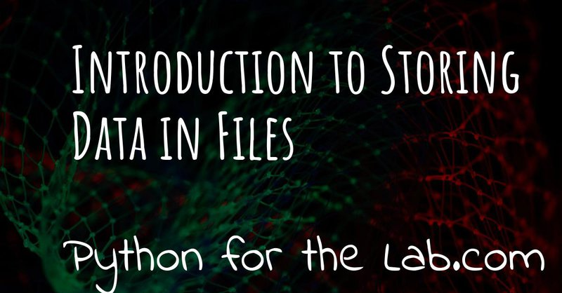 Introduction to Storing Data in Files